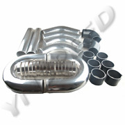 Universal 3.5 Inch Aluminum Turbo Intercooler Piping Kit Pipes+clamps Us Ship