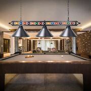 59 Billiard Pool Table Lighting Fixture With 3 Metal Lamp Shades For Game Room