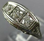 Antique Wide .76ct Old Mine Diamond 14kt White Gold 3d Art Deco Anniversary Ring