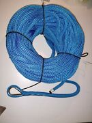 1/2 X 150and039 Royal Blue Double Braid Nylon Anchor Line W/ Stainless Steel Thimble