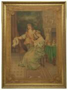 Tapestry Large Framed Courting Scene Painted Continental Early 1900s