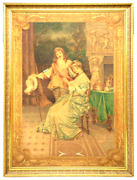 Large Framed Courting Scene Painted Tapestry Early 1900s