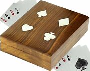 Handmade Wooden Playing Card Holder Case For 2 Deck Brown - 6.3 Inches