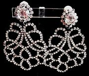 Christian Dior Signed Clip Earrings Gun Metal Set With Clear Crystals
