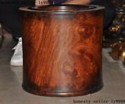 Chinese Huanghuali Wood Calligraphy Tool Live Bottom Brush Pot Pencil Vase Sets