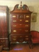 Henkel Harris Highboy Chest With Flame Finial Mahogany 29 3separate Pieces