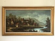 Huge Original Oil Painting By Weiss - Switzerland - Swiss Chalet Town River Alps