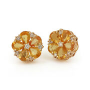 Flower Stud Earrings Solid Pave Diamond 14k Rose Gold Christmas Mother Jewelry
