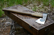 Custom Steel Axe With Engraving And Wooden Box, Camping Hatchet Tool, Best Gift