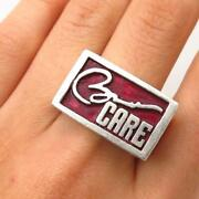 Menand039s 925 Sterling Silver Harley The Buckleman Enamel Obama Care Ring