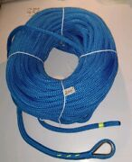 1/2 X 200and039 Royal Blue Double Braid Nylon Anchor Line W/ Stainless Steel Thimble