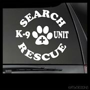 Search And Rescue K-9 Unit Decal - Multiple Sizes And Colors K9-39