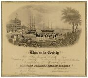 William Wade / Large Broadside Certificate American Seamanand039s Friend Society Life