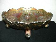 Vintage Fenton Carnival Glass Thistle Footed Banana Boat Green