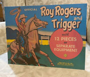 Roy Rogers And Trigger Marx 12 Pieces Toy Figure Box Top Repro Tabletop Standee