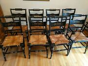 Vintage Tell City Hitchcock-style Rush Seat Stenciled Chairsandnbsp Set Of 8