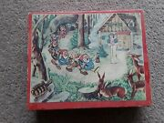 Vintage Disney Snow White And The 7 Dwarfs Wooden Puzzle Blocks In Wooden Box