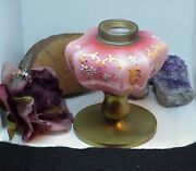 1880and039s Mt Washington Peach Blow Oil Lamp Brass Base Pink Cased Glass Font Hp