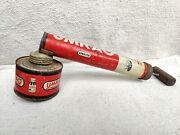 1950 Vintage Old Umrao Kimol Insecticide Insect Killer Wooden Handle Tin Sprayer
