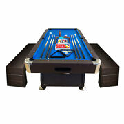 8and039 Feet Billiard Pool Table Full Set Accessories Vintage Blue 8ft With Benches