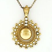 Large Antique Victorian Large 15k Gold Pearl Mourning Pendant Necklace 9k Chain