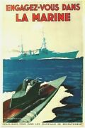 Original Vintage Poster Engage In French Marine Wwii C.1940