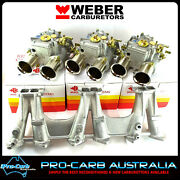 Holden 6 Cyl Red 9 Port 202 Weber 45 Dcoe Triple Carburetor And Manifold Package