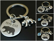Mama Bear Keychain Initial Letter Birthstone Cub Mother Charm Personalized Gift