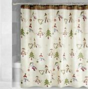 Christmas Fabric Shower Curtain Country Snowmen Decorated Trees