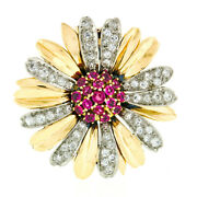 Vintage 14k Two Tone Gold Ruby Cluster And Diamond Layered Daisy Flower Brooch Pin