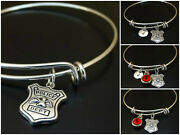 Police Department Bracelet Initial Birthstone Badge Dept Charm Personalized Gift