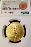 2019 Mexico Gold Libertad 1/2 Onza Ngc Ms 70 First Releases Perfect 1/2 Oz