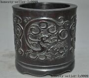 6  Antique Old Chinese Redwood Wood Carving Antique Dragon Beast Brush Pot