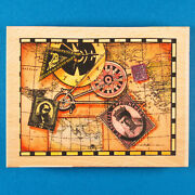 Large Travel Collage Rubber Stamp By Sugarloaf Whispers - Map Compass Postage