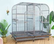 Seny Double Bird Cage With Center Divider For Parrot Macaw Aviary W64xd32xh73