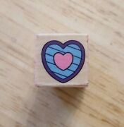 Vintage Rubber Stamp Wood Wooden Triple Heart Love Romance Valentines Day Couple