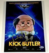 Ralph Fiennes Signed 11x14 The Lego Batman Movie Kick Butler Poster Photo Bas