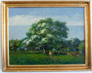 Deer Under Trees, 1. Half 20. Jh Signed N Ch Oil On Canvas, Ungereini