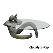 Mid Century Modern Picasso Style Figural Female Oval Glass Top Coffee Table