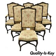 6 Vintage French Provincial Louis Xv Country Style Upholstered Dining Chairs Set