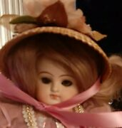 Antique 21-inch Abg Doll In Gorgeous Dress And Antique Bonnet W/ Hh Wig-5