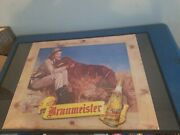 1940s Braumeister Beer Lady Hunting Gun And Lab Dog Cardboard Litho Large Sign Mil