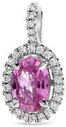1.01ct Diamond And Aaa Pink Sapphire 18kt White Gold 3d Oval And Round Halo Pendant