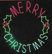 Large 41 Led Neon Lighted Merry Christmas Sign Wreath Led Lights New
