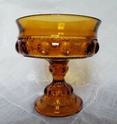 Indiana Amber Glass Thumbprint Kingand039s Crown Footed Compote
