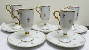 Set Of 5 Vintage Royal Sealy Footed Fleur De Lys Irish Coffee Cups/saucersrare