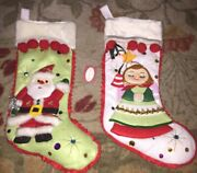 Dept 56 Santa And Angel Christmas Stockings, Felt Embroidered Sequins Lot 2 New