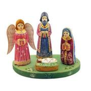 Hand Carved Painted Wooden Nativity Of Christ Set With Angel 7