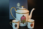 Faberge Set Coffee Pot And Two Coffe Cups Porcelain 24k W / Box
