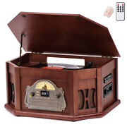 10-in-1 Wood Classic Turntable Stereo System With Bluetooth Vinyl Record Player
